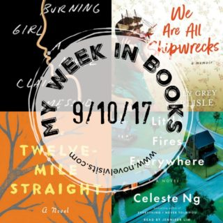 My Week in Books for 9-10-17, where I share my reading week, including books completed, those currently being read, and upcoming titles I'm most likely to read next.
