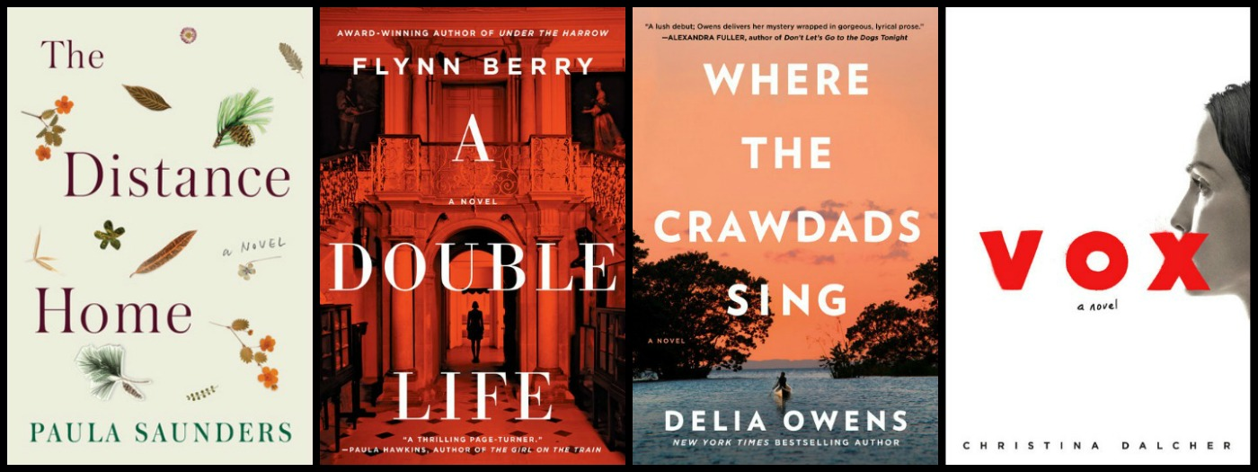 Novel Visits' My Week in Books for 8/13/18: Last Week's Reads - The Distance Home by Paula Saunders, A Double Life by Flynn Berry, Where the Crawdads Sing by Delia Owens, Vox by Christina Dalcher