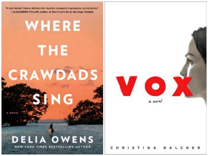 Novel Visits' My Week in Books for 8/6/18: Likely to Read Next - Where the Crawdads Sing by Delia Owens and Vox by Christina Dalcher