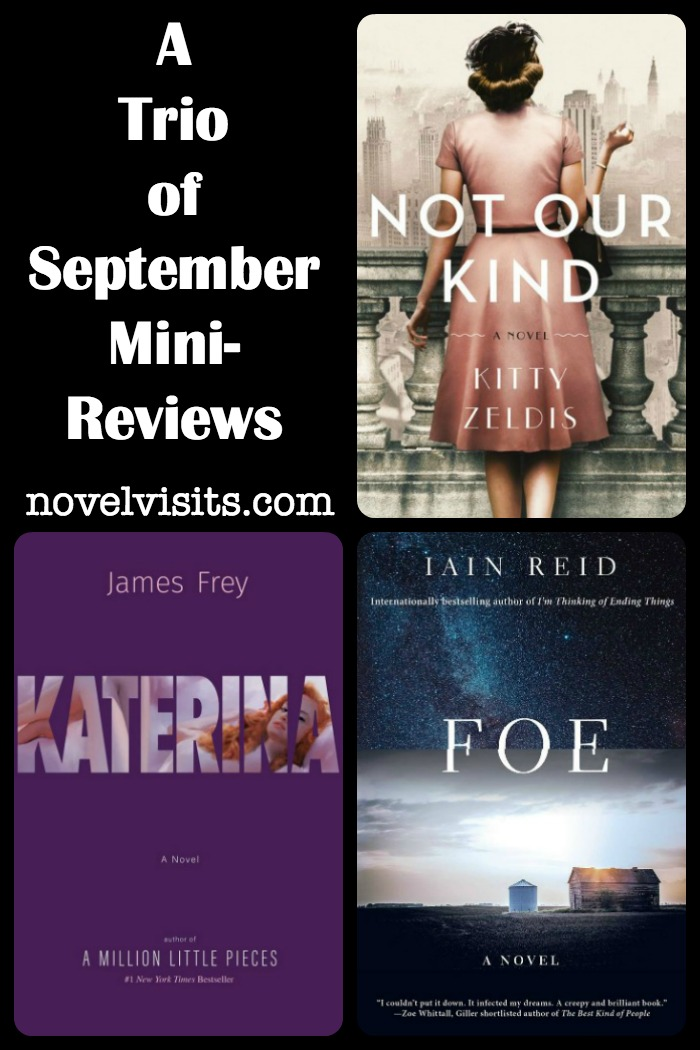 Novel Visits' A Trio of September Mini-Reviews - Not Our Kind by Kitty Zeldis, Katerina by James Frey, and Foe by Iain Reid, two hits and a miss!
