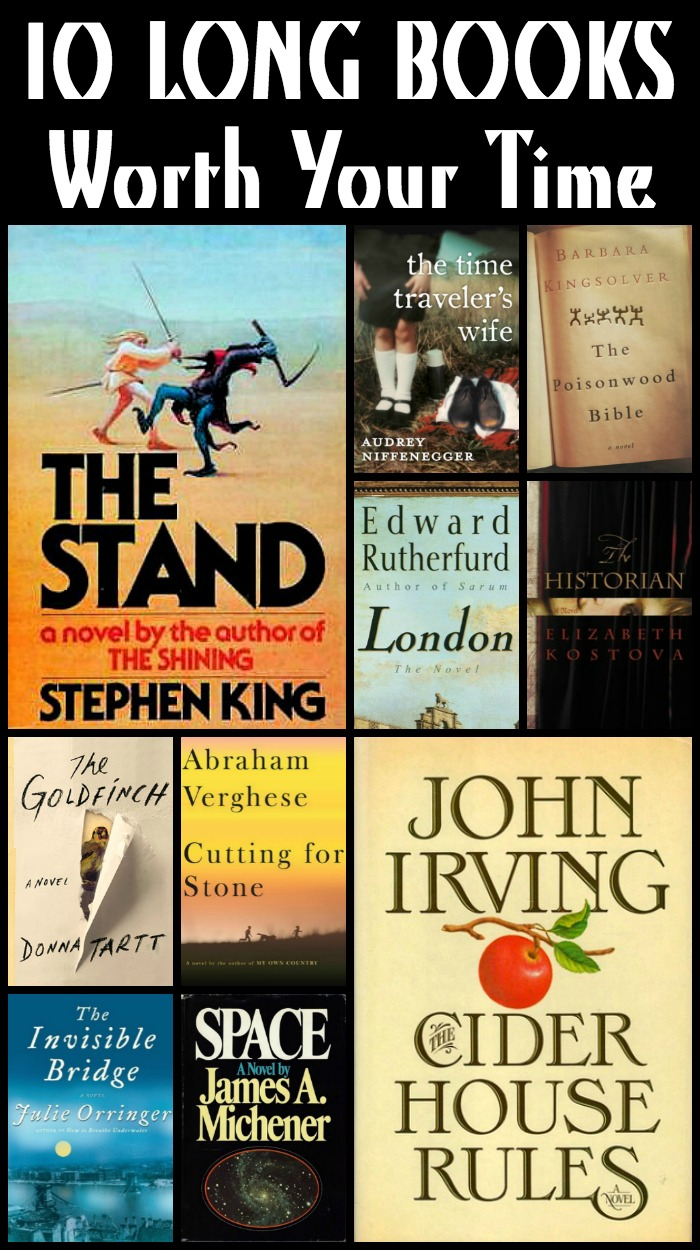 Novel Visits: 10 LONG BOOKS Worth Your Time - Today's Top Ten Tuesday features favorite LONG BOOKS (500+ pages) I haven't talked about much in earlier posts. When I finish a LONG BOOK it's almost always a favorite. No way will I slog through more than 500 pages of a book I'm not enjoying!