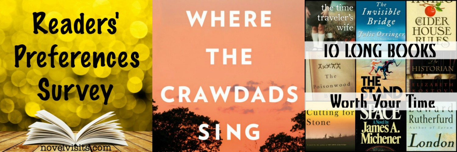 Novel Visits' Wrapping It Up! October 2018: Blog Favorites - Readers' Preferences Survey, Where the Crawdads Sing by Delia Owens, 10 LONG Books Worth Your Time