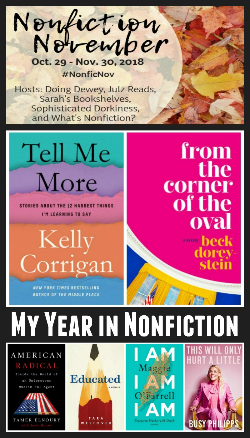 My Year In Nonfiction from Novel Visits - My favorite nonfiction books of the year, the type of nonfiction I read most (by a long shot), the nonfiction I recommended most often and what I hope to get out of Nonfiction November.