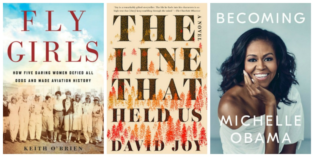 Novel Visits' Wrapping It Up! November 2018: The Cream of the Crop - Fly Girls by Keith Obrien, The Line That Held Us by David Joy and Becoming by Michelle Obama
