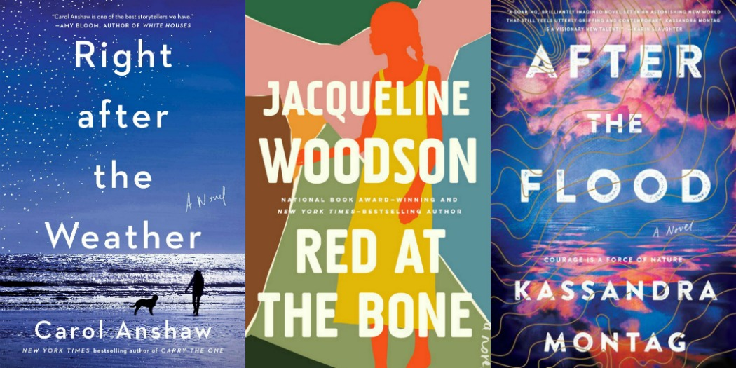 Right After the Weather by Carol Anshaw, Red at the Bone by Jacqueline Woodson and After the Flood by Kassandra Montag