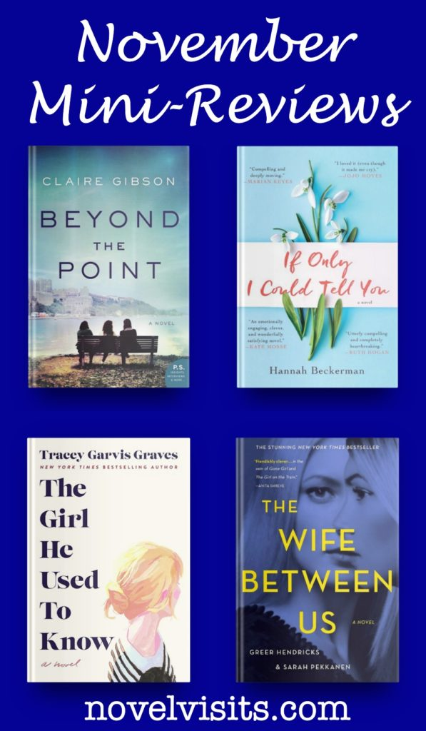 Novel Visits' November Mini-Reviews: Beyond the Point by Claire Gibson, If Only I Could Tell You by Hannah Beckerman, The Girl He Used to Know by Tracey Garvis Graves and The Wife Between Us by Greer Hendricks & Sarah Pekkanen
