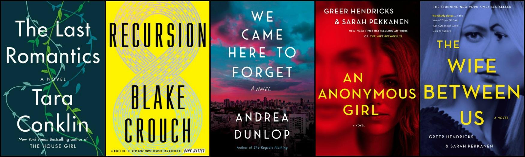 Novel Visits' Favorite New-to-Me Authors from 2019 - Tara Conklin, Blake Crouch, Andrea Dunlop, and Greer Hendricks & Sarah Pekkanen