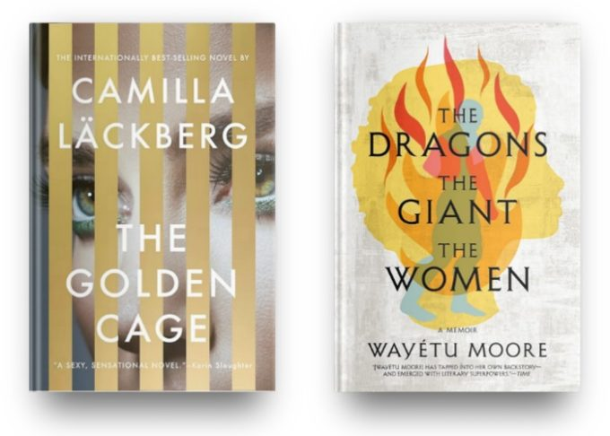 The Golden Cage by Camilla Lackberg and The Dragons The Giants The Women by Wayetu Moore
