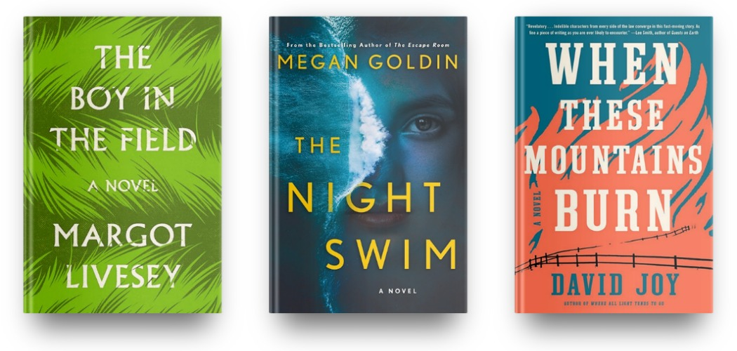 The Boy in the Field by Margot Livesey, The Night Swim by Megan Goldin, and When These Mountains Burn by David Joy