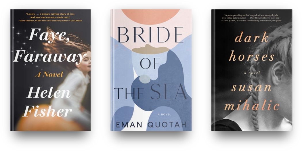 Faye, Faraway by Helen Fisher, Bride of the Sea by Eman Quotah, and Dark Horses by Susan Mihalic